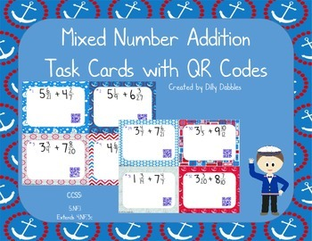 Mixed Number Addition Task Cards with QR Codes