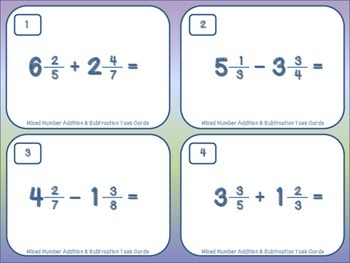 Mixed Number Addition and Subtraction Task Cards with Regrouping