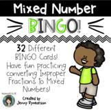 Mixed Number BINGO! 32 Cards! Convert Improper Fractions t
