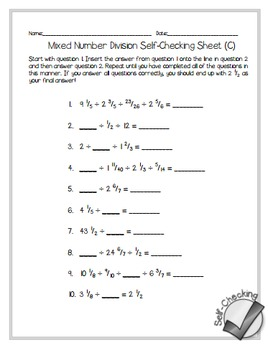 Mixed Number Division Self-Checking Worksheets - Differentiated