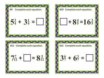 Mixed Number Equations