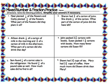Mixed Number & Fraction Practice - 5.NF.2