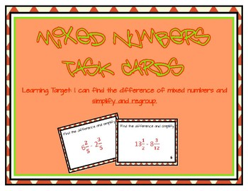 Mixed Number Fractions Subtraction Task Cards