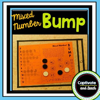 Mixed Number Fractions with Models Bump Partner Game