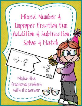 Mixed Number & Improper Fraction Addition/Subtraction Solve & Match w/ negatives