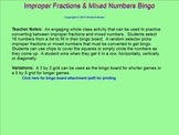 Mixed Number & Improper Fraction Conversion Bingo for the