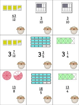 Mixed Number & Improper Fraction Go Fish Game!