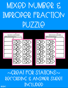 Mixed Number & Improper Fraction Puzzle