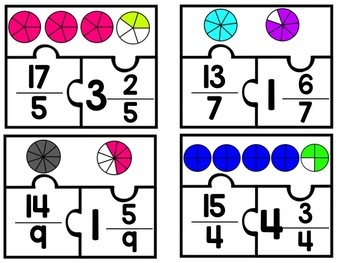 Mixed Number & Improper Fraction Puzzle Center