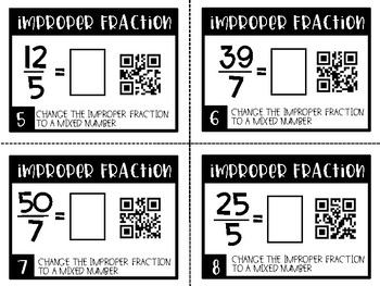 Mixed Number & Improper Fractions Task Cards