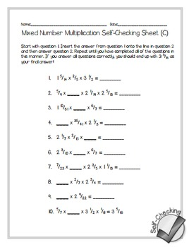 Mixed Number Multiplication Self-Checking Worksheets - Differentiated