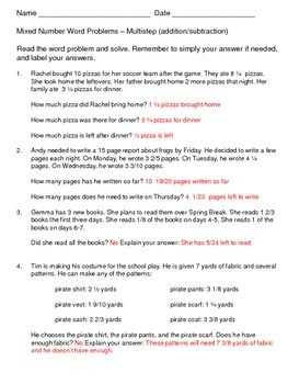 Mixed Number Multistep Word Problems (Addition/Subtraction)