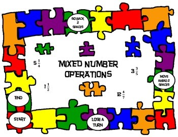 Mixed Number Operations Board Game