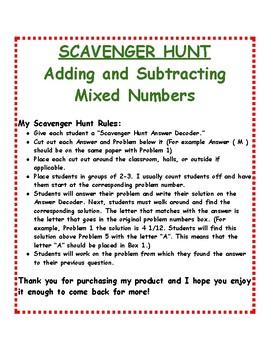 Mixed Number Operations Bundle: Scavenger Hunts