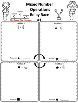 Mixed Number Operations Relay Race