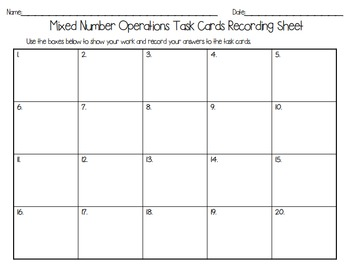 Mixed Number Operations Task Cards - With & Without QR Codes