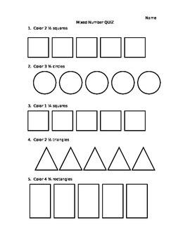 Mixed Number Quiz (editable)