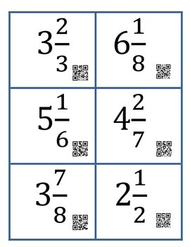 Mixed Number QR Task Cards