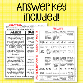 Mixed Number Word Problem Sort & Solve {5.NF.A.1 and 5.NF.A.2}