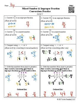 Mixed Number and Improper Fraction Conversions Practice