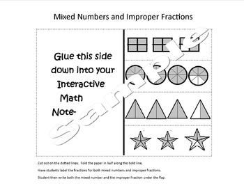 Mixed Number and Improper Fraction Foldable for Interactive Notebooks