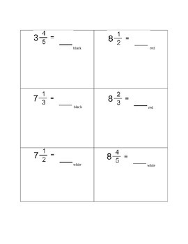 Mixed Number and Improper Fraction Hidden Picture Activity
