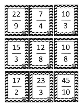 Mixed Number and Improper Fraction Matching Game - Grade 5