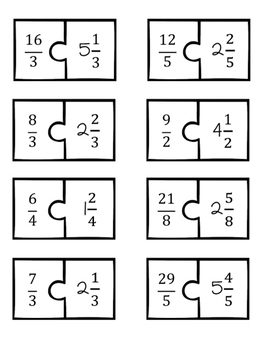 Mixed Number and Improper Fractions Puzzles