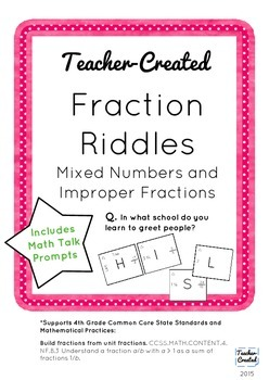 Mixed Number and Improper Fraction Riddles