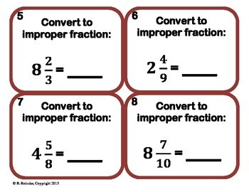 Mixed Number and Improper Fraction Task Cards (28!!!)