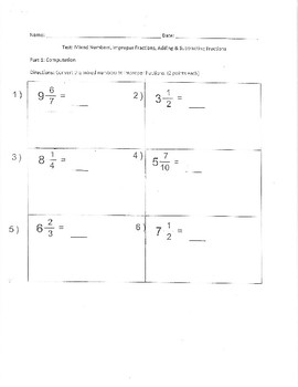 Mixed Number and Improper Fraction Test and Answer Key