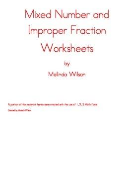 Mixed Number and Improper Fraction Worksheets