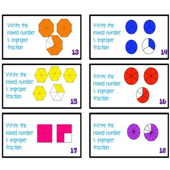 Mixed Number and Improper Fractions Task Cards