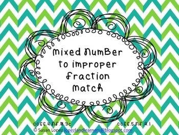 Mixed Number to Improper Fraction Card Matching Game / Task Card Set