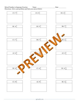 Mixed Number to Improper Fraction Puzzle Activity Worksheet (18 problems)