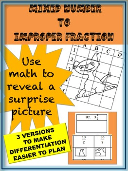 Mixed Number to Improper Fraction Puzzle Activity Workshee