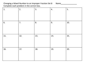 Mixed Number to Improper Fraction Task Cards