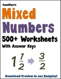 Converting Mixed Numbers to Improper Fractions Worksheets