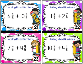 Mixed Numbers Addition Task Cards