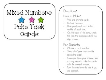 Mixed Numbers- Adding and Subtracting Poke Cards