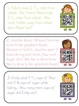 Mixed Numbers- Adding and Subtracting QR code Task Cards