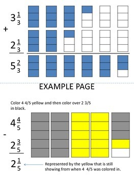 Mixed Numbers:  Adding and Subtracting Visual Representations