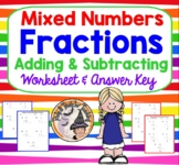 Mixed Numbers Fractions Adding and Subtracting Practice Worksheet Homework