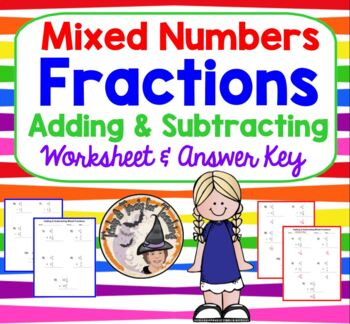 Mixed Numbers Fractions Adding and Subtracting Practice Wo