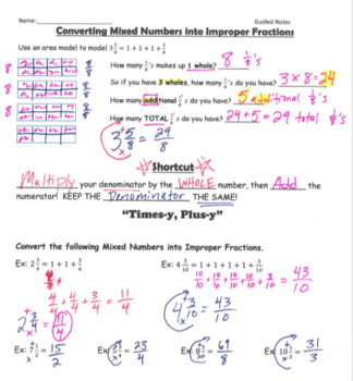 Mixed Numbers GUIDED NOTES