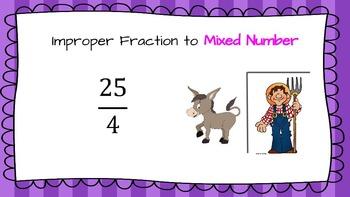 Mixed Numbers & Improper Fraction Practice with Brain Breaks TEK 5.2B