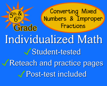 Mixed Numbers / Improper Fractions, 5/6 grade - worksheets - Individualized Math