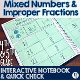 Mixed Numbers & Improper Fractions Interactive Notebook &