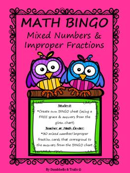 Mixed Numbers & Improper Fractions MATH Bingo