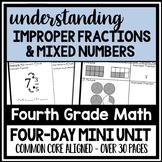 Mixed Numbers & Improper Fractions Mini Unit, 4-Day Lesson Bundle + Quizzes
